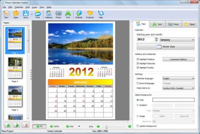Photo Calendar Creator Screenshot