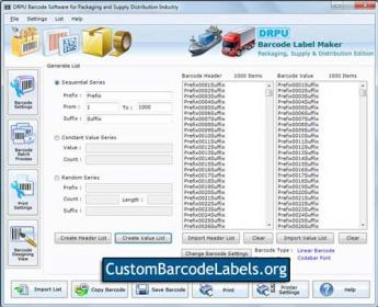 Packaging Barcode Labels Screenshot