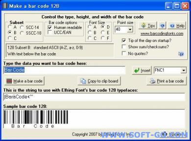 Bar Code 128 Screenshot